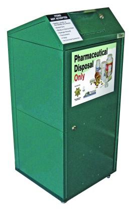 Pharmaceutical disposal bin.
